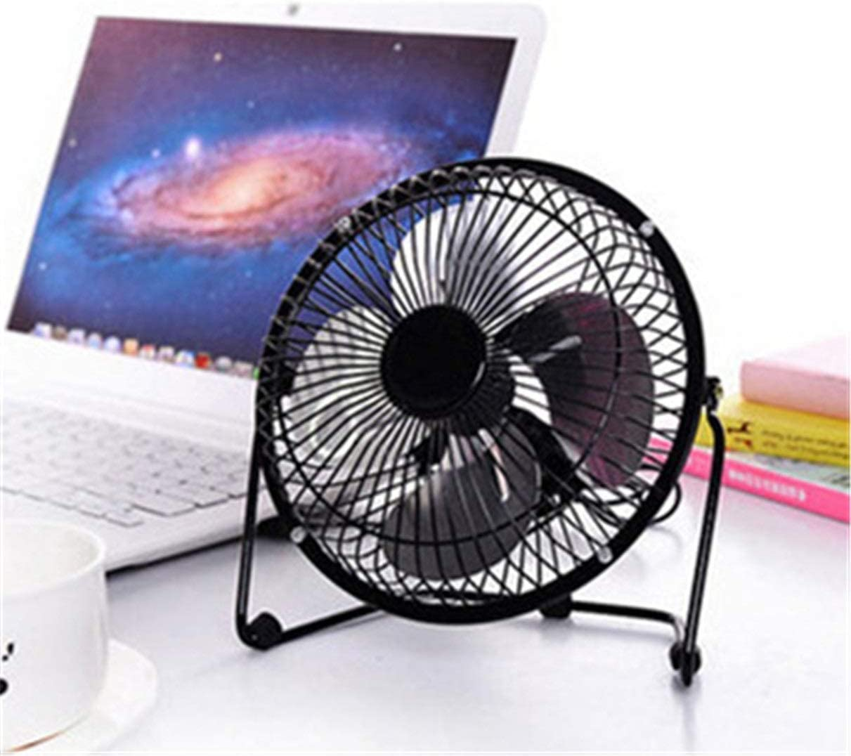 TYUIO Metal Desk Fan Quiet USB Fan for Home Office and School Strong Airflow USB Powered Table Fan