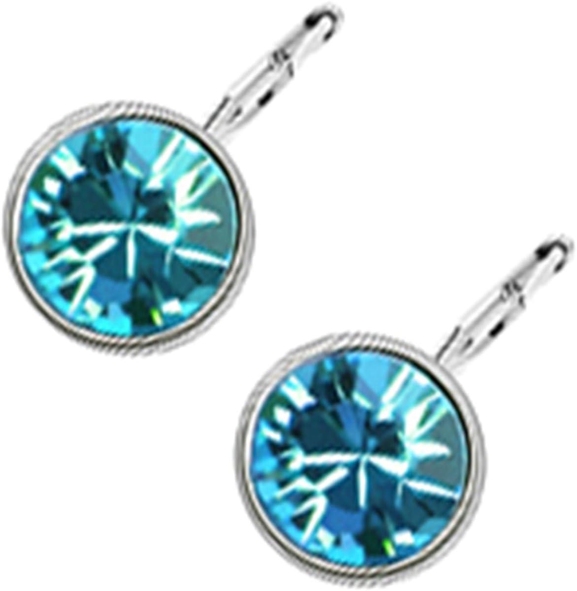 GWG Jewellery Pendientes Mujer Regalo Pendientes Colgantes, Chapados en Oro Blanco 18K Cristal de Colores Varios de Diseño Clásico para Mujeres