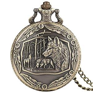 Vintage Bronze Quartz Pocket Watch Analog Pendant Necklace Pocket Watch Chain for Men Women Boy Girl Kids Xmas Gift – Ahmedy Pocket Watch