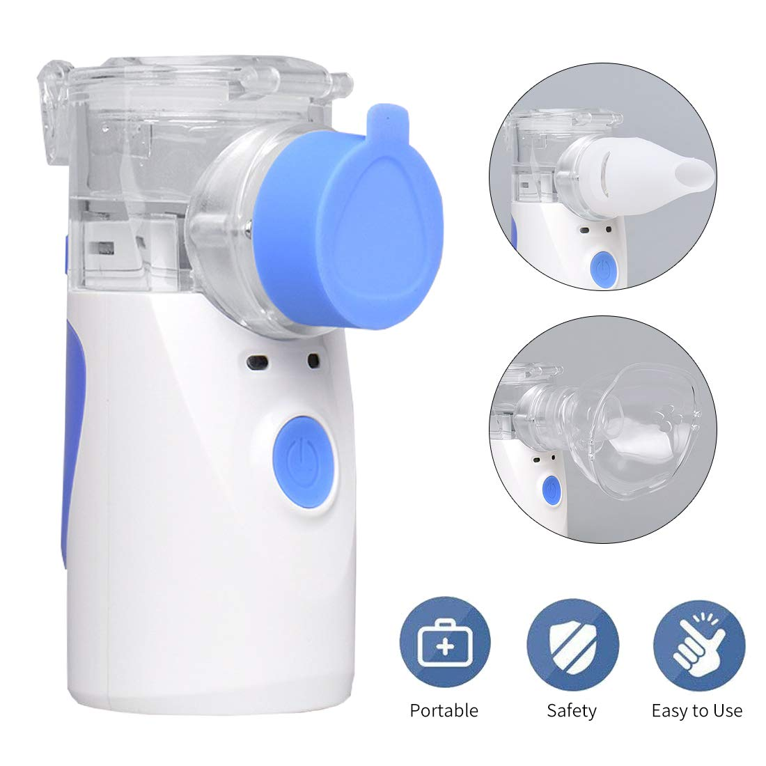 Handheld Inhaler, Portable Mini Vaporizer Cool Mist Compressor Humidifier for Adults & Kids, Steam Inhaler for Travel and Home Daily Use (Blue)-Battery Type by CLORIS