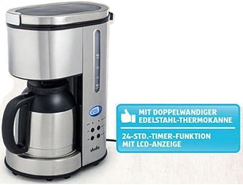 Kaffeemaschine Thermo Kaffeeautomat Mit 24 Std Timer Thermoskanne Edelstahl  Mit Blau Beleuchtetem LC