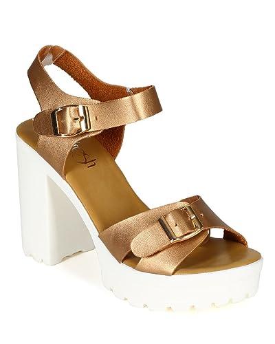 950fa202566 Refresh Women Metallic Leatherette Open Toe Ankle Strap Platform Chunky  Heel Sandal CD04 - Champagne (