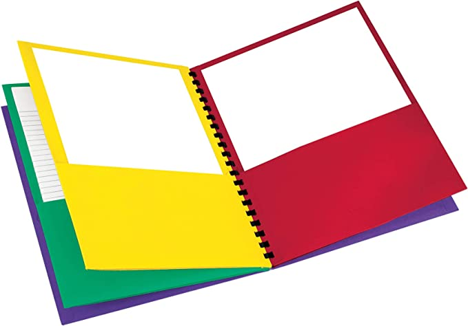 Sold as 1 Each 8-Pocket Folder,Wire Bind,Letter,200 Sh Capacity,Assorted