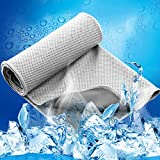 LESVIEO Evaporative Cooling Towels, Instantly Cold Soft Ice Towels for Sports, Fitness, Yoga, Pilates, Travel, Camping, Gray.