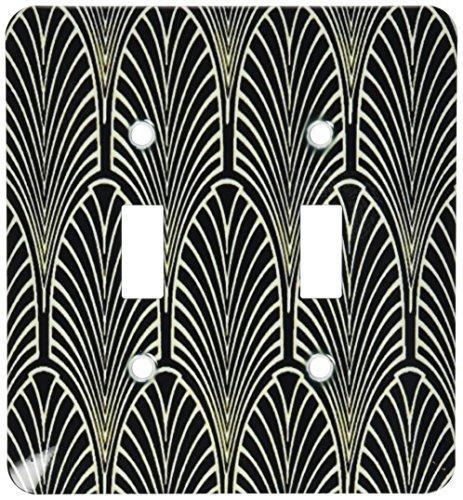 - 3dRose lsp_109819_2 Art Deco Cream N Black Arch Design Light Switch Cover