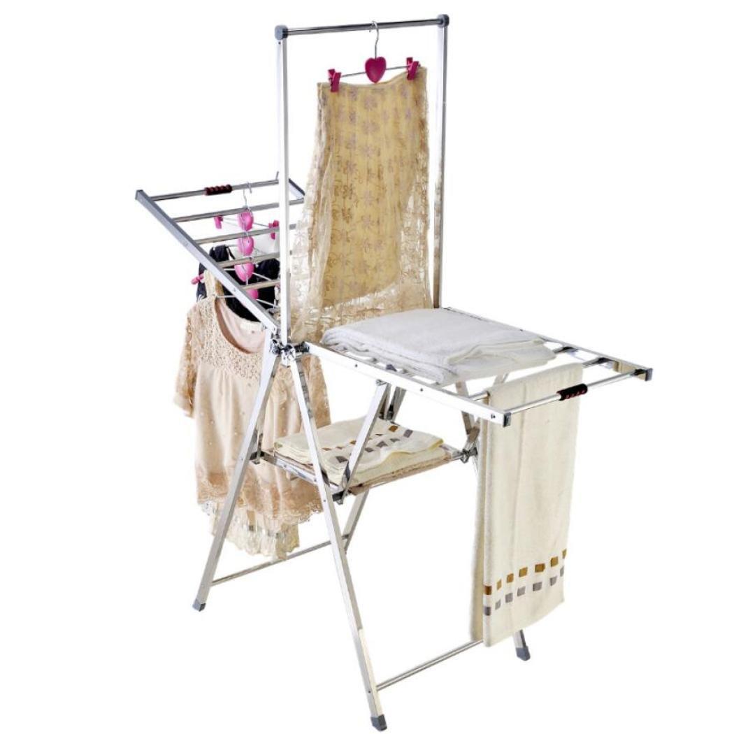 ステンレス製乾燥ラック折り畳み式衣類洗濯用シューズラック乾燥機ハンガーコンパクトストレージ,A B07FMD5BCM A