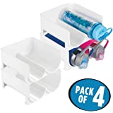 mDesign Stackable Water Bottle Storage Rack for Kitchen Countertops, Cabinet - Holds 8 Bottles, White