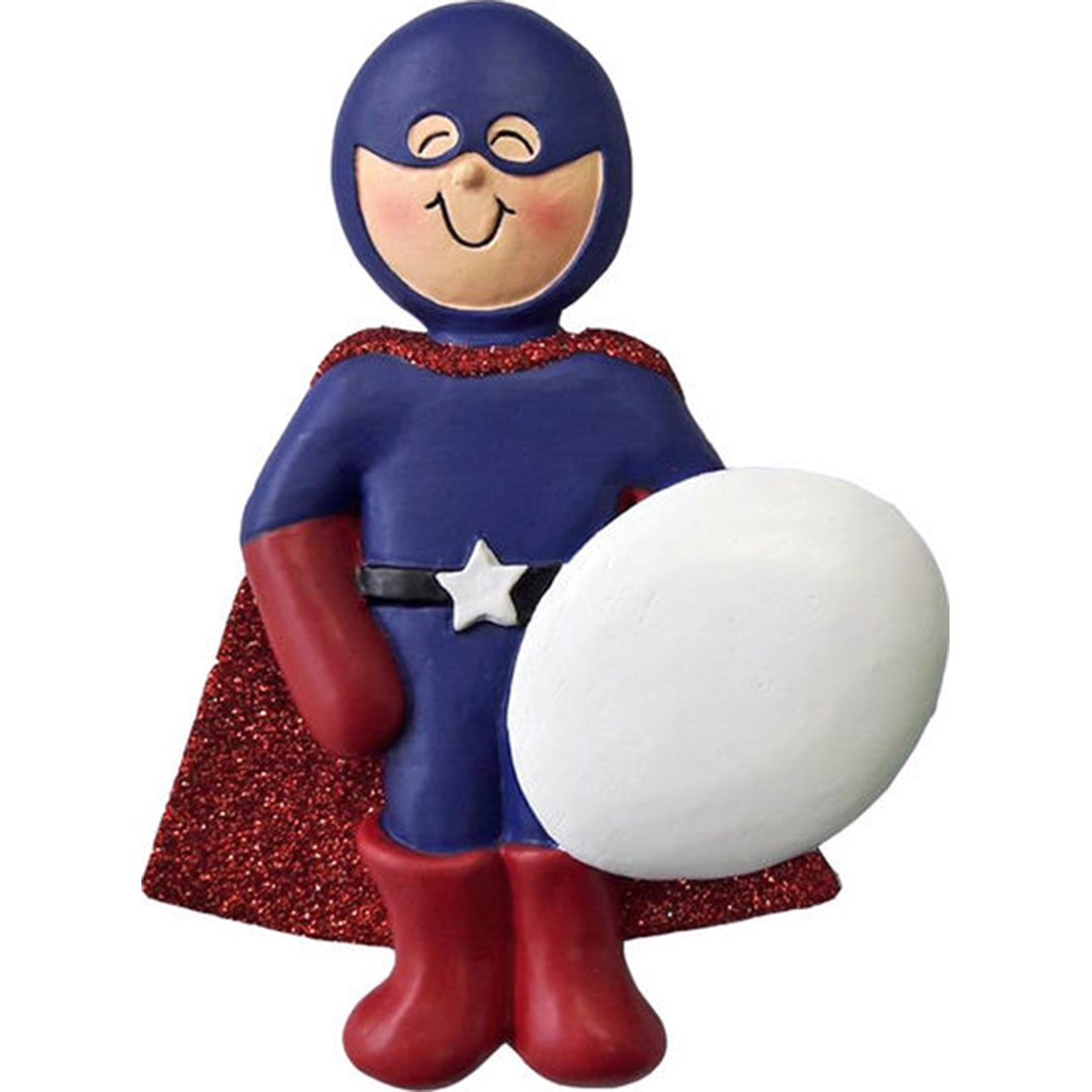Personalized Super Hero Christmas Ornament for Tree 2018 - Fictional Character Boy Helmet Blue Costume Red Cape Metal Shield - Captain America Toddler Heroic Cartoon Star - Free Customization by Elves