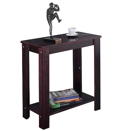 Goplus Tavolo Consolle con Gambe in Legno Tavolino d\'Ingresso Facile da  Montare 61x59,6x29,5 cm