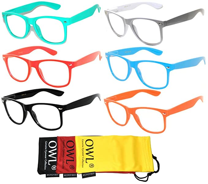 975ea54c0915 Amazon.com: 6 Pairs Retro Vintage Clear Lens Sunglasses Colored ...