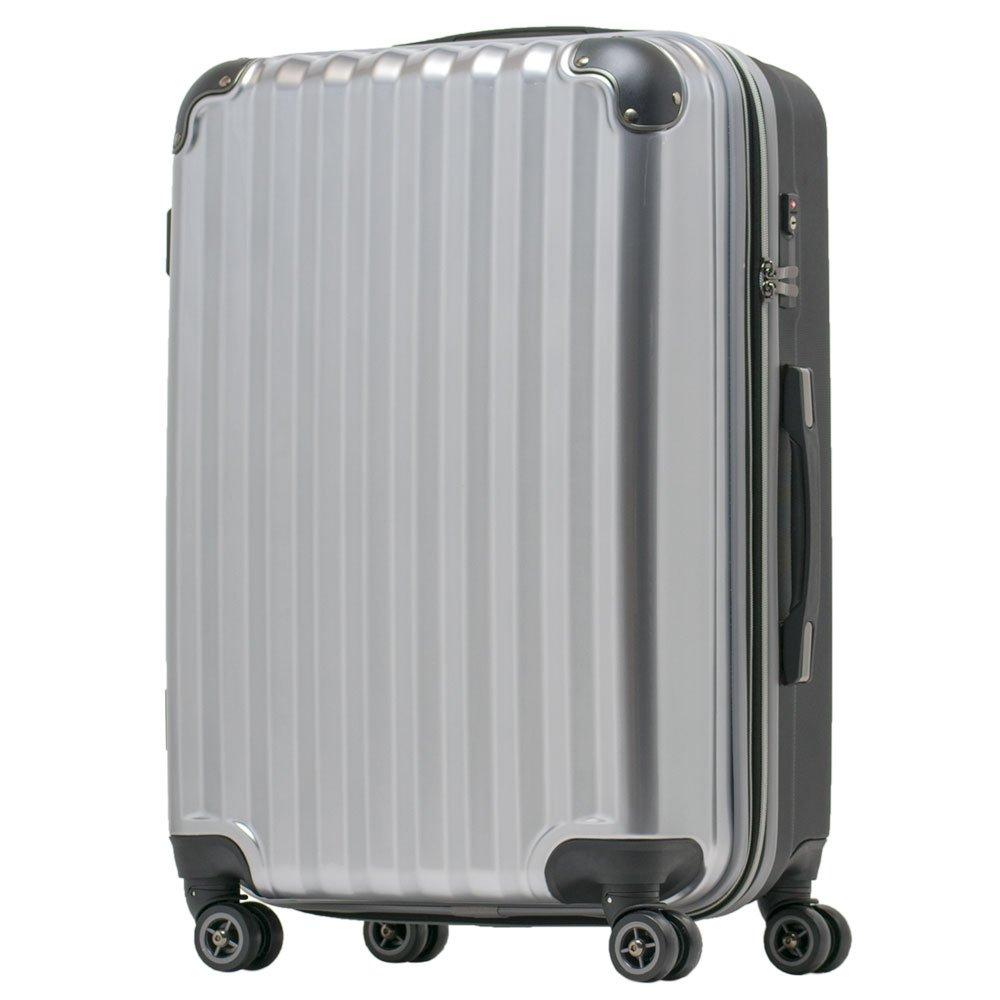 【JP Design】スーツケース 超軽量 拡張 ダブルキャスター 8輪 大型 キャリーケース キャリーバッグ B076BT6STS LLサイズ( 93L~108L)|シルバー/BK シルバー/BK LLサイズ( 93L~108L)