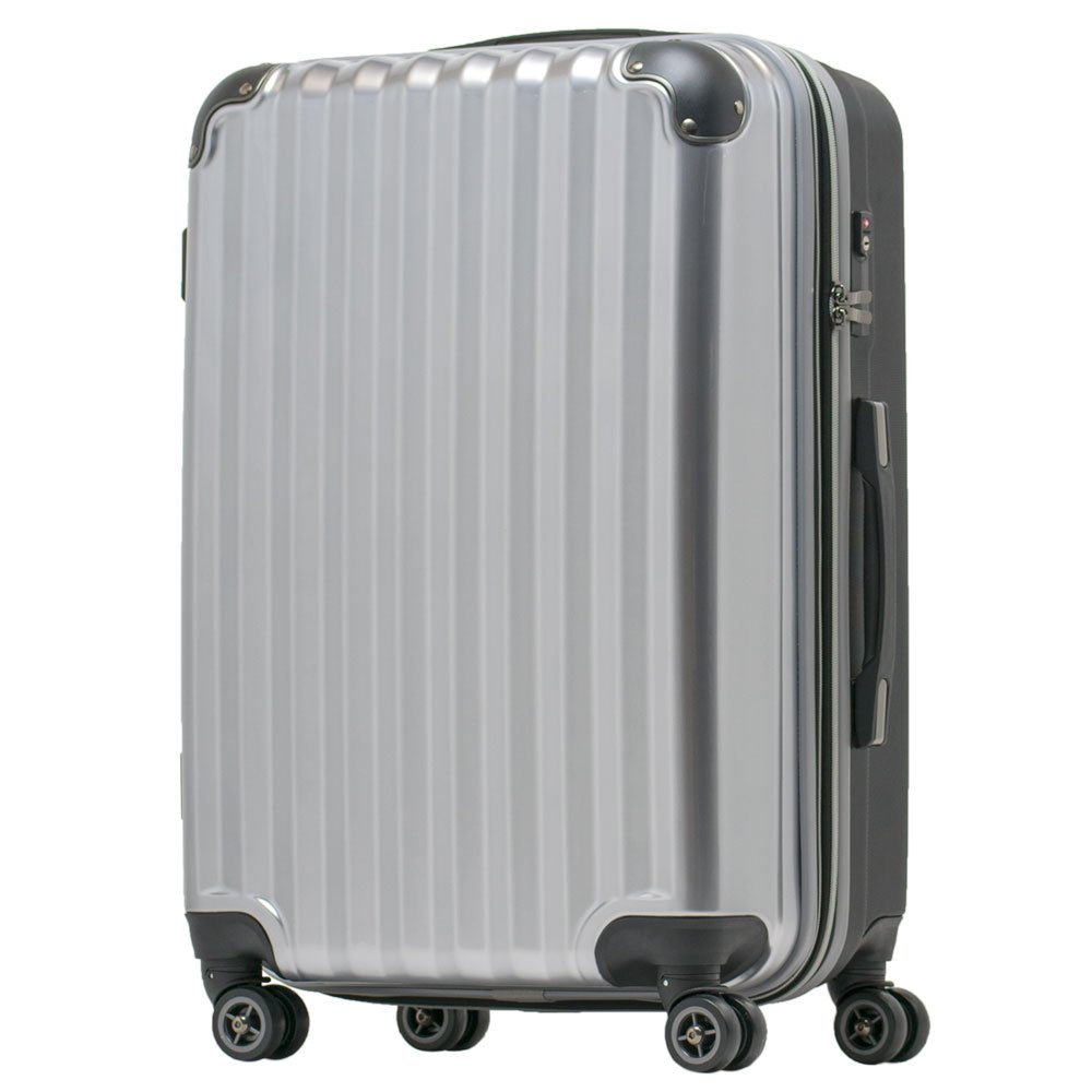 【JP Design】スーツケース 超軽量 拡張 ダブルキャスター 8輪 大型 キャリーケース キャリーバッグ B076BWMYZR  シルバー/BK LMサイズ( 64L~75L)