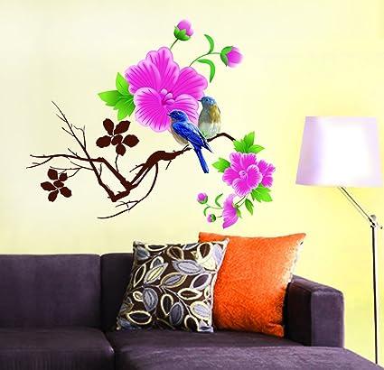Decals Design Design Blue Birds with Flowers Wall Sticker (PVC Vinyl, 60 cm x 45 cm)