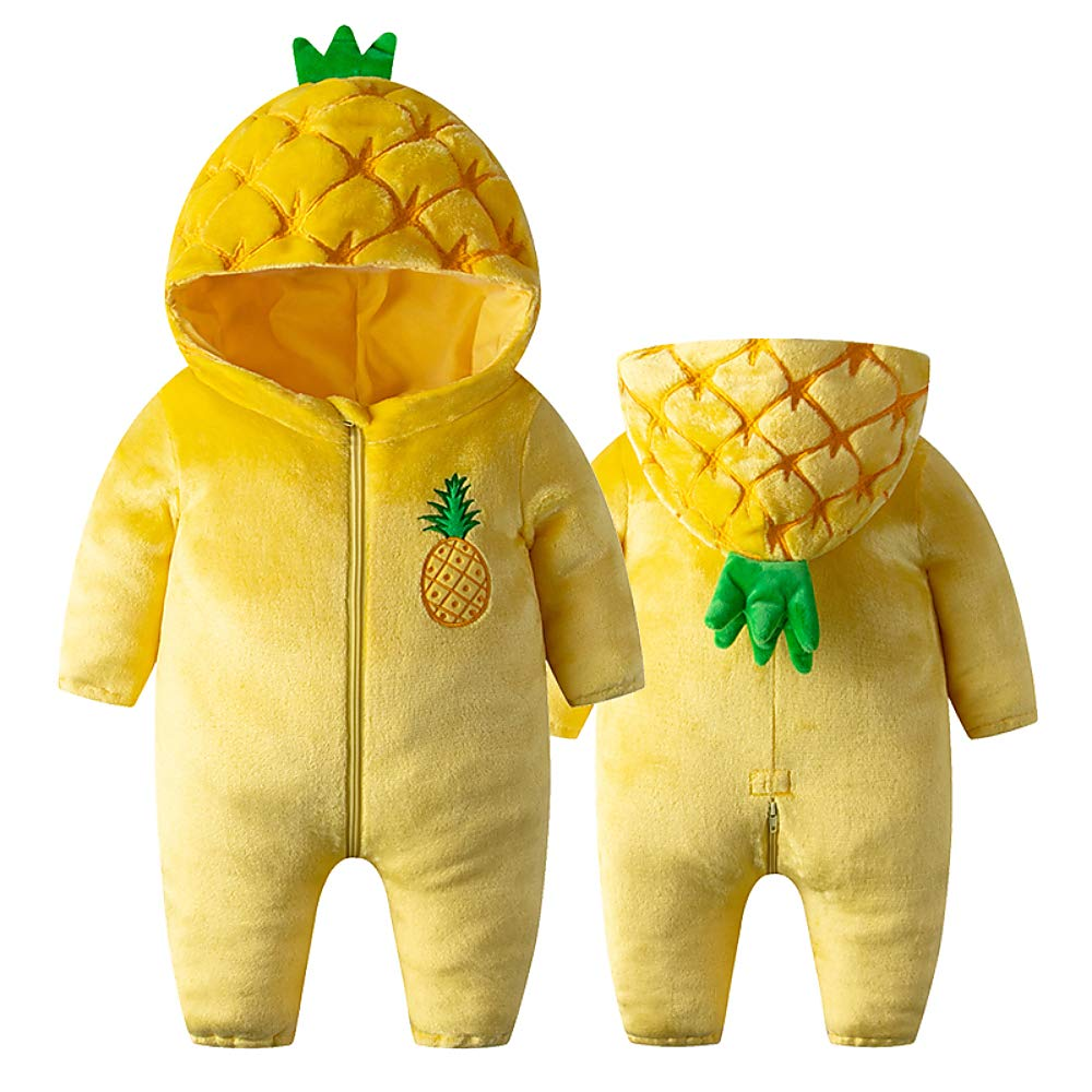 Katara 1778 Costume Ananas Neonati Bambini Tuta Kigurumi Animale Pigiama Intero con Cappuccio Bambino 0-6 Mesi