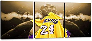 Kobe Bryant Wall Decor 3 Panels Los Angeles Lakers Wall Art Canvas Painting Print Vintage Basketball Artwork Kobe Bryant Poster Picture Home Decor for Living Room Bedroom Wooden Framed (48