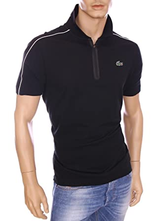 ba32042a15 Lacoste Homme - Polo Manches Courtes 104 Polo à col zippé Noir Coton piqué  Homme YH7435