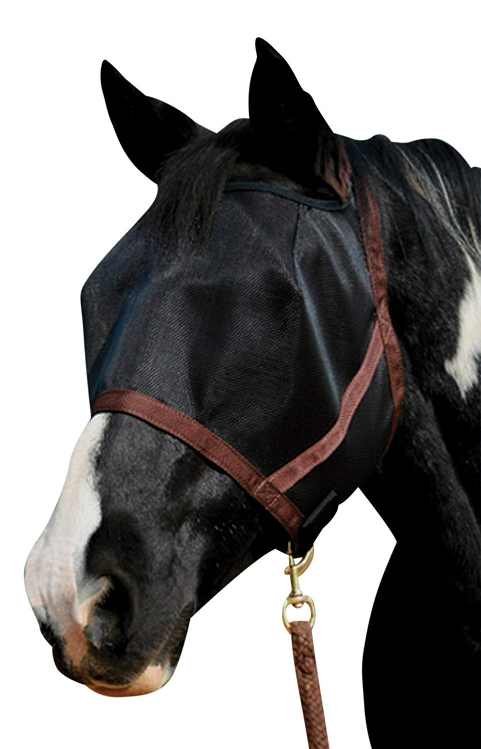Kensington Natural Look CatchMask Horse Fly Mask - Innovative Combination Fly Mask and Catch Halter with Double Locking Lead Rope Fastener - 2 Sizes (Black, Medium) by Kensington Protective Products
