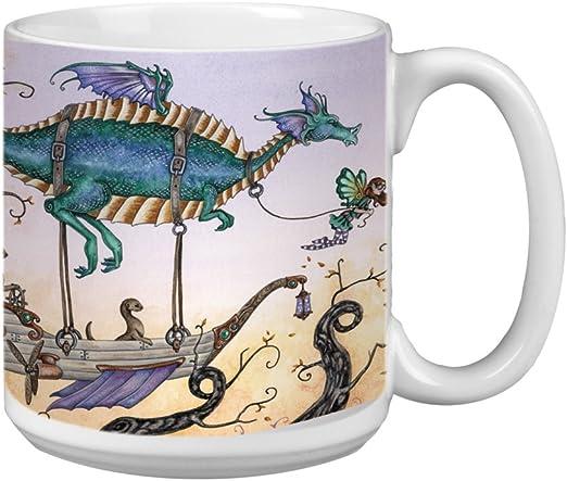 Fantasy Attitude Blue Dragon and Fairy 20-Ounce Tree-Free Greetings XM27581 Amy Brown Artful Jumbo Mug