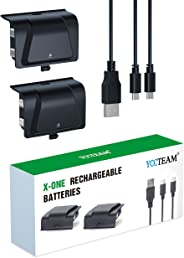 Xbox One Battery Pack Rechargeable, YCCTEAM Xbox One Controller Charger with 2pcs 1200 mAh Rechargeable Batteries for Offica