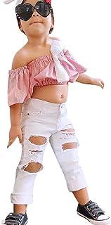 Putars Baby Clothing Toddler Girls'2PCS Cotton Stripe Tops+Denim Pants Outfits