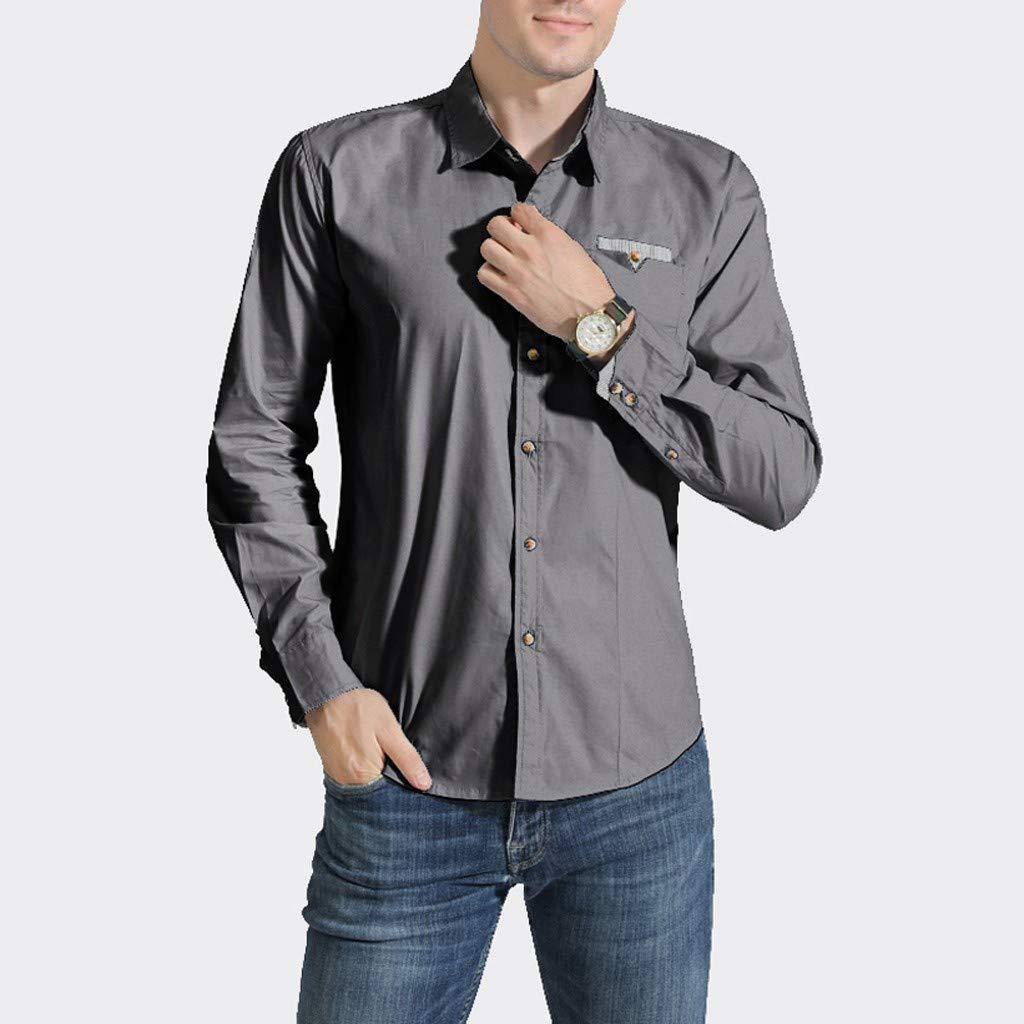 CLOOM Hombres Camisa de Moda Color Sólido Casual Manga Larga ...