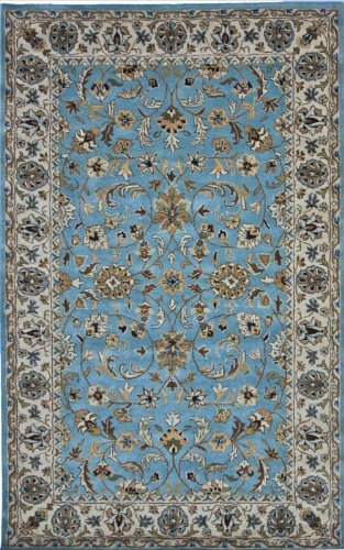 NEW Area Rug Thick Carpet Persian Wool Blue 5' x 8'