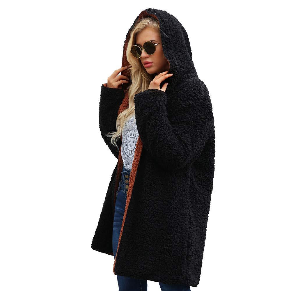 WEUIE Womens Jacket Womens Tops Clearance Womens Ladies Warm Artificial Wool Coat Dichroic Jacket Winter Parka Outerwear(US-16/CN-L, Black)