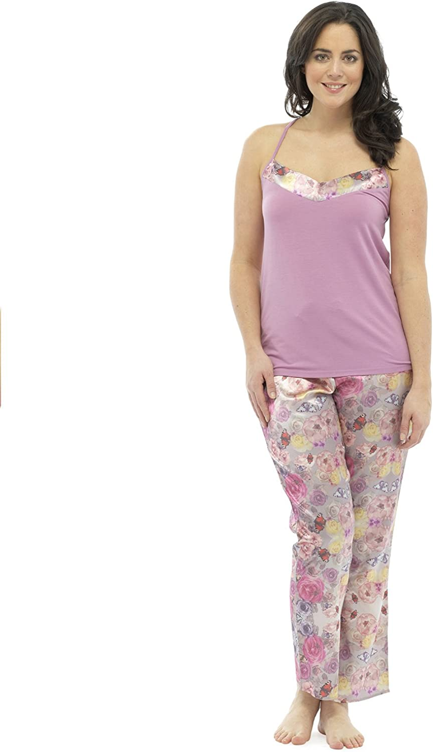 Pink Wolf /& Harte Ladies Satin Floral Print Strappy Top Summer Pyjama Lounge Wear M-L