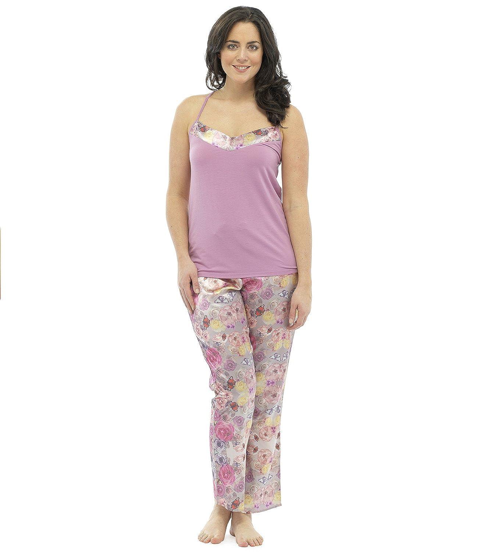 newest 9fce1 d6d4f Damen Pyjama Set mit Blumen-Muster, Satin Hosen, Jersey ...