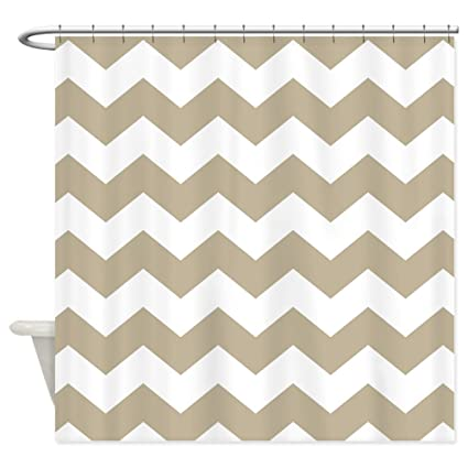 CafePress Chevron Zigzag Sand And White Striped Shower Curta Decorative Fabric Curtain 69quot