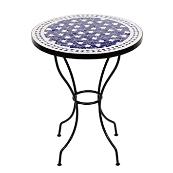 Moroccan Mosaic Table Maar Blue 60 cm Round Table Bistro Table