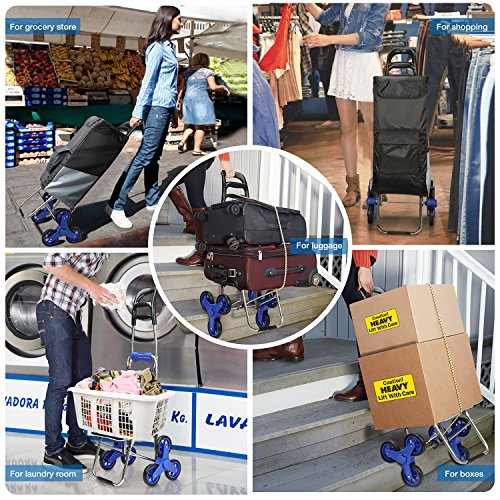 ROYI Upgraded Folding Shopping Cart, Stair Climbing Cart Waterproof Grocery Laundry Utility Cart with Wheel Bearings Stainless Steel Frame