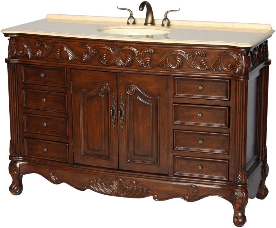 Amazon Com 60 Antique Style Single Sink Bathroom Vanity Model 3169l Be Kitchen Dining