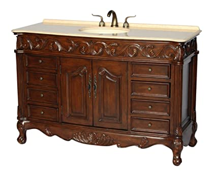 54-Inch Antique Style Single Sink Bathroom Vanity Model 3169M-BE - Amazon.com: 54-Inch Antique Style Single Sink Bathroom Vanity Model