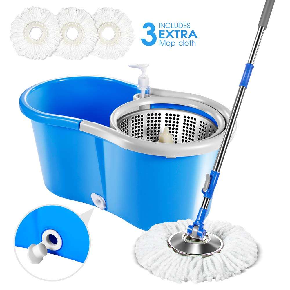 Spin Mop and Bucket System with 3 Microfiber Mop Heads 5L Self Wringing Stainless Steel Mop Bucket with Detergent Dispenser for Floor Cleaning Masthome by Masthome