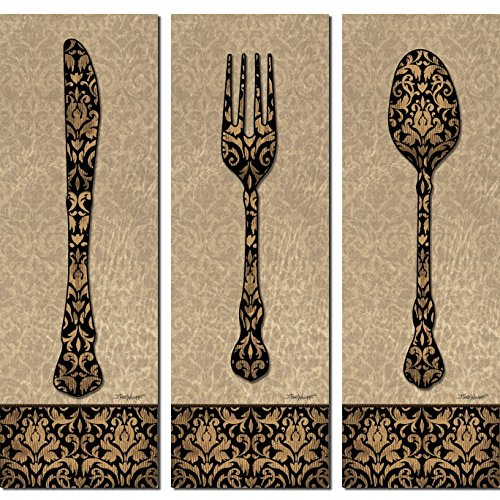 Vintage Classic Fork Spoon Knife Silverware Panels; Kitchen Decor; Three 6x18in Poster Prints