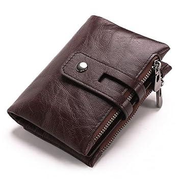 AOLVO - Cartera de piel de vaca para hombre con bolsillo doble con cremallera marrón oscuro: Amazon.es: Hogar