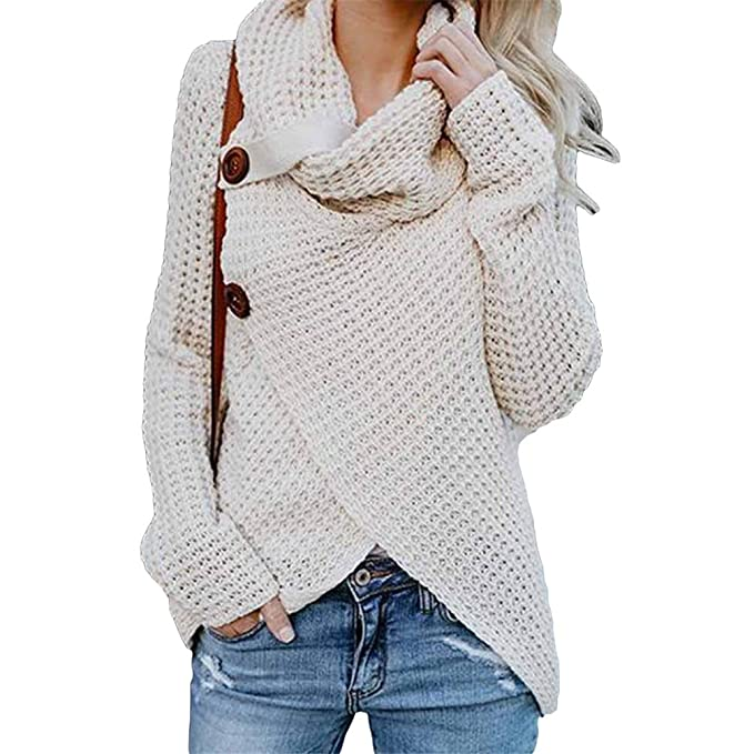 buy popular 37bab f261b TianBin Warm Asymmetrische Stricken Hemd Lang Damen Weite ...