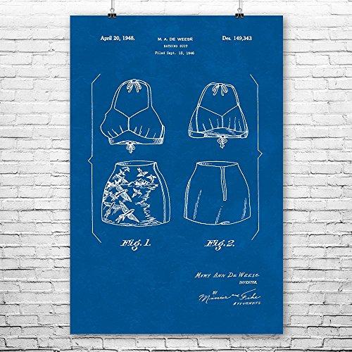 Patent Earth Two Piece Swimsuit Poster Print, Vintage Swimwear, Beach House Gift, Fashion Illustration, 50s Nostalgia, Summer Wear Blueprint (9