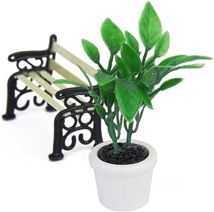 Plante verte /& Pot Miniature Jardin Accessoire Maison De Poupée
