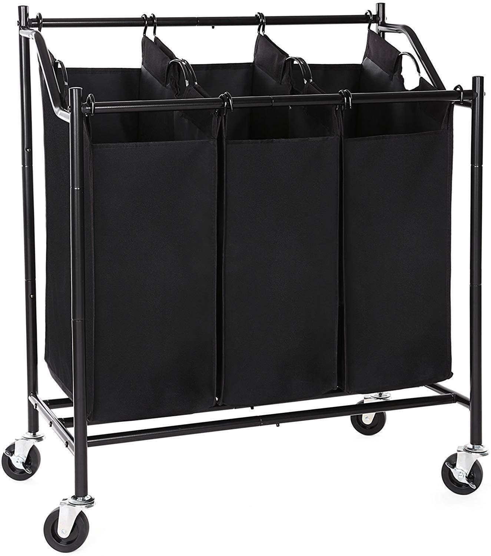 SONGMICS 3-Bag Rolling Laundry Sorter Cart Heavy-Duty Sorting Hamper W Removable Bags & Brake Casters Black URLS70H