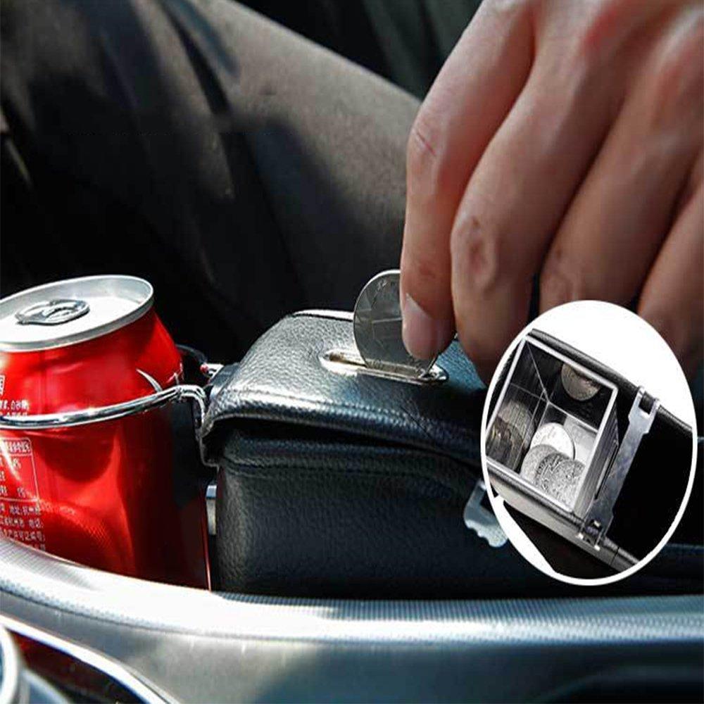 Co-pilot Auto Catcher,Finoki Auto Organizer Premium Leder Auto Seiten-Schlitz Taschen Aufbewahrungsbox f/ür Handy M/ünzen Schl/üssel Kreditkarten