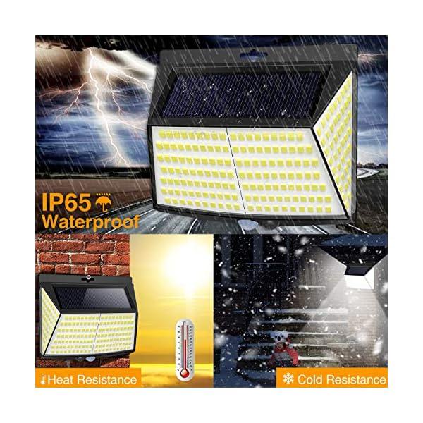Luce Solare LED Esterno, [ 4 Pezzi 228 LED] Faretti Solari a Led da Esterno Lampada da Esterno con Sensore di Movimento IP65 Impermeabile 3 Modalità per Giardino, Parete Wireless Risparmio Energetico 4 spesavip