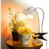 Dommia LED Plant Light for Indoor Plants, Dual Head Desk Clamp Lamp with Swivel 360 Degree Flexible Gooseneck and One Switch,