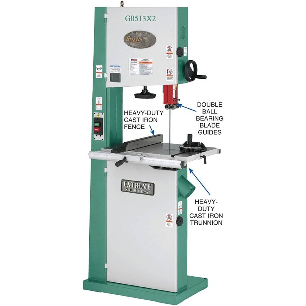 Grizzly g0513x2 bandsaw with cast iron trunnion 2 hp 17 inch grizzly g0513x2 bandsaw with cast iron trunnion 2 hp 17 inch power band saws amazon greentooth Choice Image
