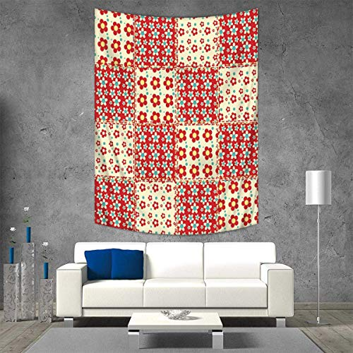 r Tapestry Wall Hanging 3D Printing Traditional Quilt Pattern Spring Garden Flowers Daisies Beach Throw Blanket 40W x 60L INCH Light Yellow Turquoise Red ()