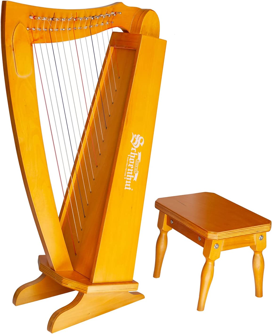 Schoenhut 15 String Lyre Harp - 27'' Stringed Musical Instruments with Harp Tuning Wrench - Instrument Lyre Learn to Play the Harp - Harp Instruments for Kids and Adults - Wooden Musical Instruments