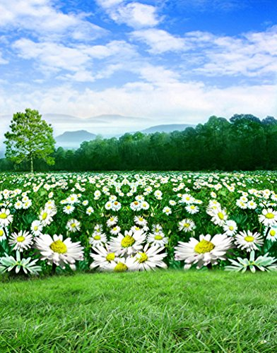 Landscape Tree White Flowers Daisy Photography Backdrops Photo Props Studio Background 5x7ft (Landscape Backdrops)