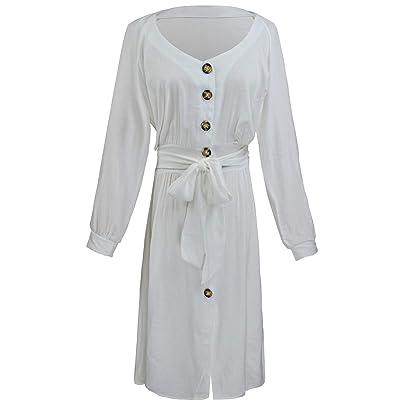 @W.H.Y Vestido de Manga Corta con Cuello en V botón con Color sólido Sexy Suelta Grande,White,XL: Hogar