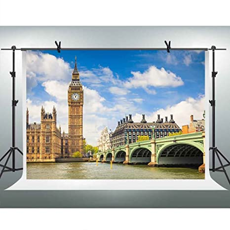 FHZON 10x7ft Gothic Style Architecture Photography Backdrop Elizabeth Tower Clock Tower Big Ben River Thames Background